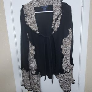 Boston Proper Sweaters - Boston Proper Black/Tan/Ivory Tie Cardigan
